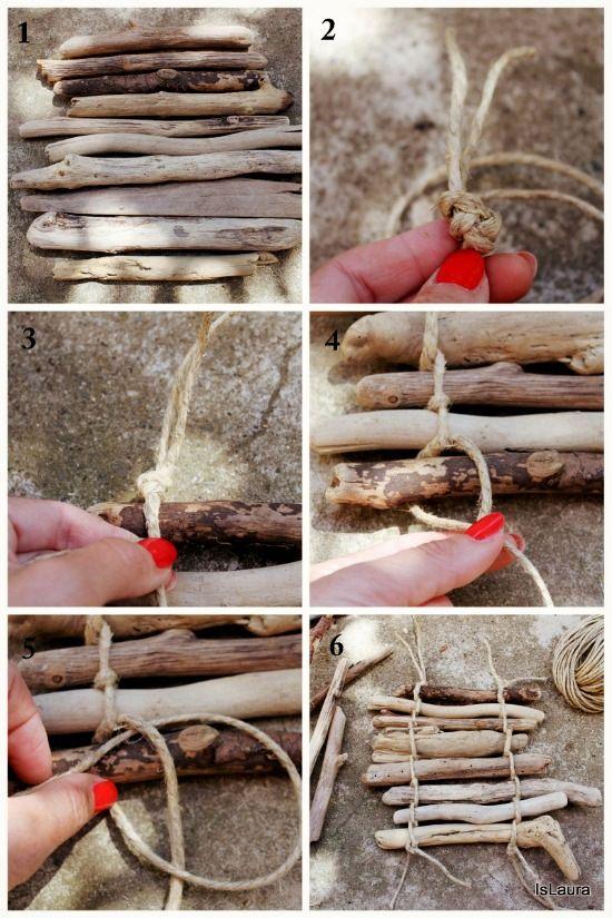 collage sottopiatto con legnetti di mare.