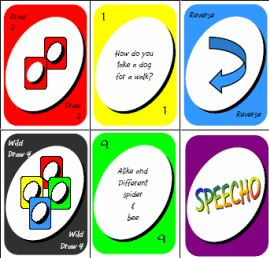 Speecho...similar to Uno but with speech/language targets. Repinned by SOS Inc. Resources.  Follow all our boards at http://pinterest.com/sostherapy  for therapy resources.