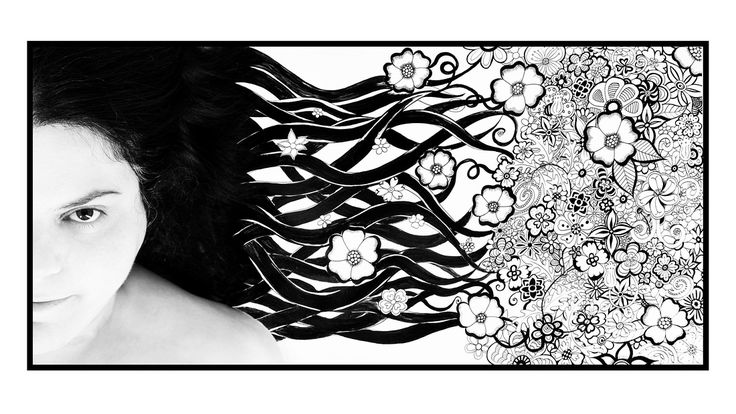 Week 28: Portrait as Landscape: Flower doodle hairscape.