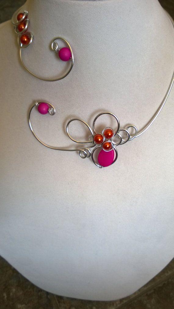 Fuchsia necklace Fuchsia jewelry Wire by LesBijouxLibellule