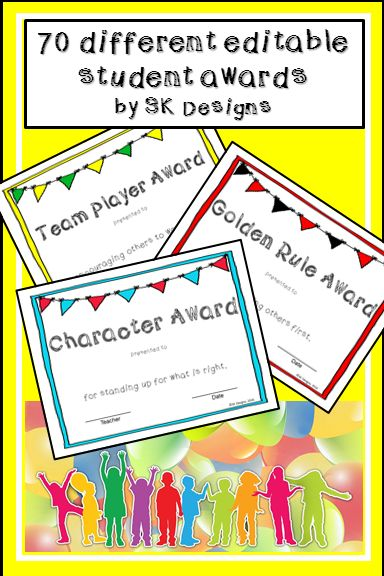 70 traditional and creative editable awards for all kinds of students!