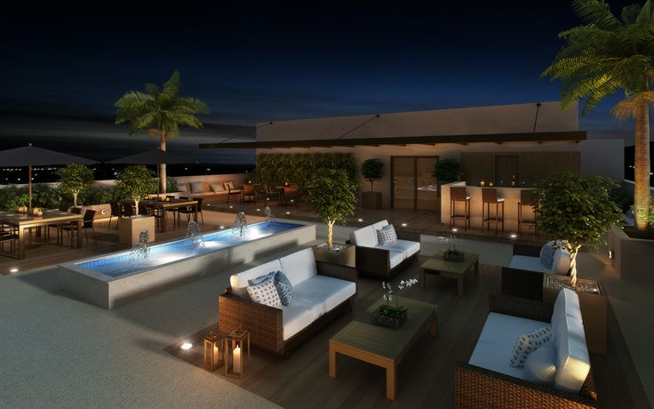Vista do Terraço com Lounge e Bar