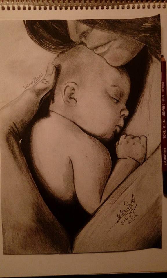 رسمة بقلم الرصاص 1 ام تحتضن طفلها Portrait Tattoo Blog Portrait