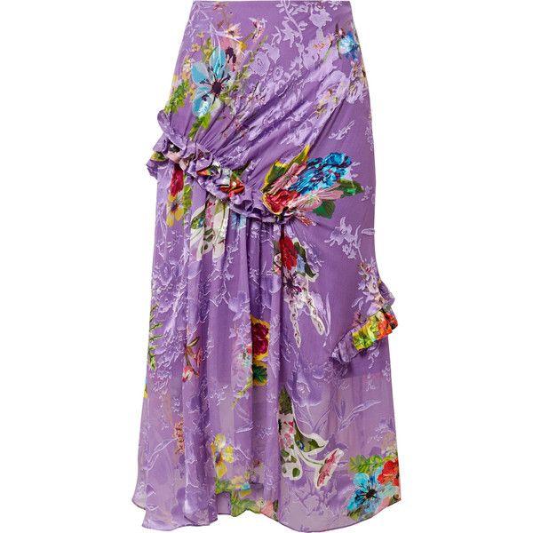 Preen by Thornton BregazziElsa Ruffled Fil Coupé Silk-blend Midi Skirt found on Polyvore featuring skirts, purple, purple midi skirt, mid-calf skirt, purple ruffle skirt, floral skirts and purple floral skirt