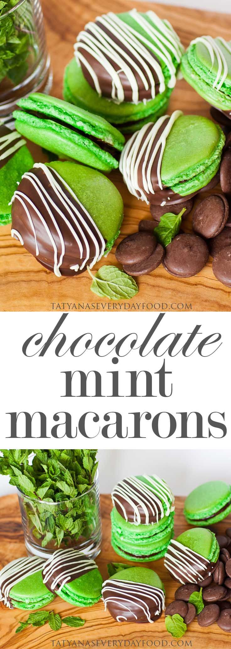 These delicate double chocolate and mint macarons are the perfect after-dinner treats! They taste just like After-Dinner Mints with refreshing mint and sweet chocolate. Make them a few days ahead of time and allow them to mature for the best results! Watch my video recipe for all the recipe details!