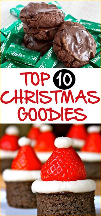 Top 10 Christmas Goodies.  Celebrate the holidays with these delicious Christmas desserts.  Everyone is sure to love these sweet treats!  Christmas cookies, Christmas candy and more.