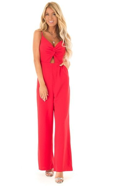 2de1fc0b49e4 Lipstick Red Jumpsuit with Twist Front and Wide Legs - Lime Lush Boutique