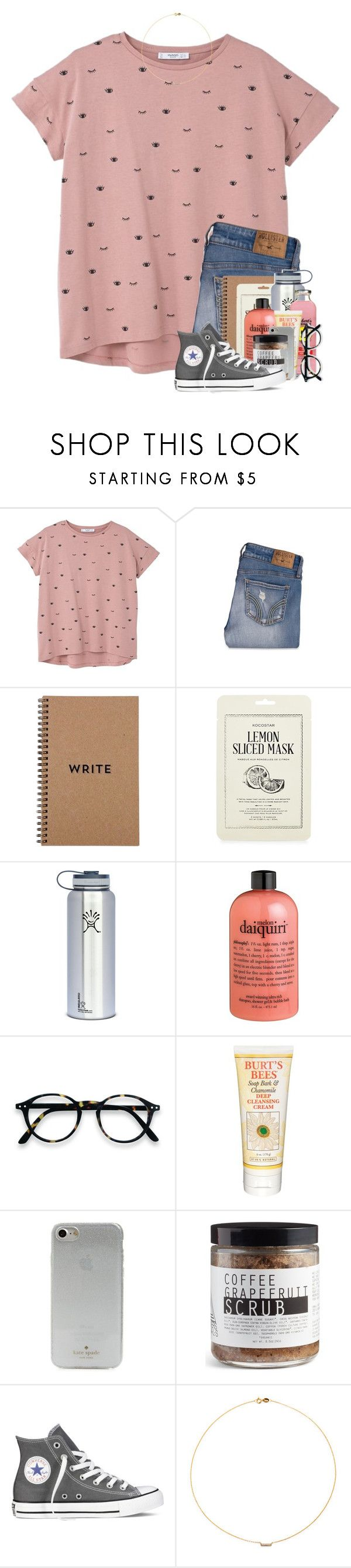 """""""Cherish"""" by lanegrahamm ❤ liked on Polyvore featuring MANGO, Hollister Co., Brika, Kocostar, Hydro Flask, philosophy, Burt's Bees, Kate Spade, Moon Rivers Naturals and Converse"""