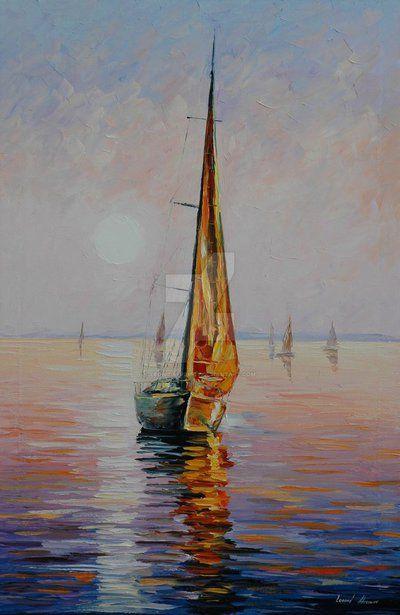 Gold Sail by Leonid Afremov by Leonidafremov