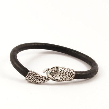 Black Leather Silver Snake Cuff, Leather Bracelet with Snake Closure, Leather Cuff with Silver Snake Closure, Black Rounded Leather Cuff by AnatolianBliss on Etsy