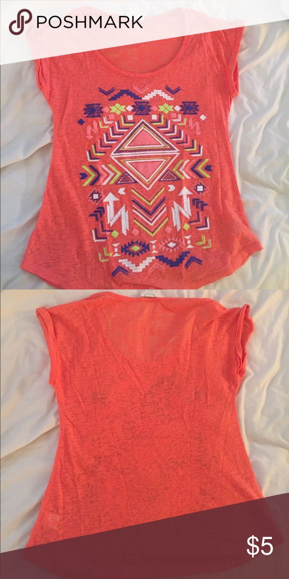 Aztec t-shirt A little sheer. Gently used Aztec print t-shirt. Tops Tees - Short Sleeve
