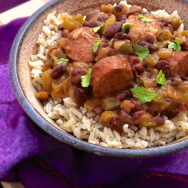 Easy Louisiana Red Beans & Brown Rice - Cajun eats with a healthy twist - just in time for Mardi Gras. Description from tastespotting.com. I searched for this on bing.com/images