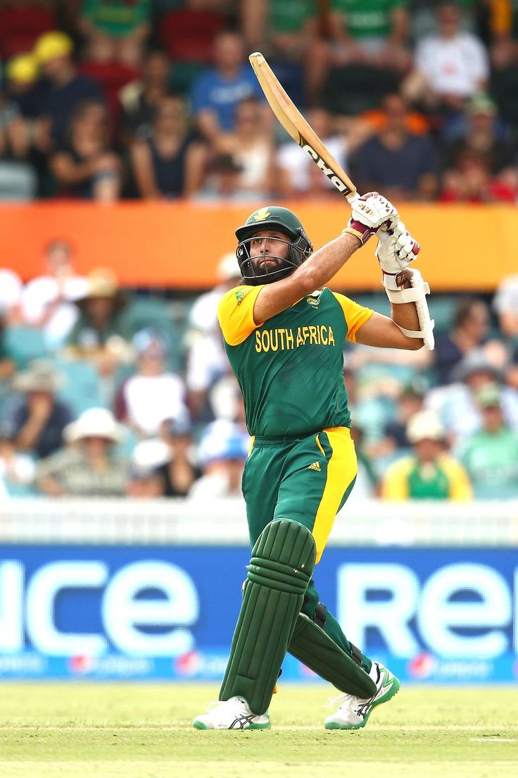Hashim Amla of South Africa bats during the 2015 ICC Cricket World Cup match between South Africa and Ireland at Manuka Oval on March 3, 2015 in Canberra, Australia.