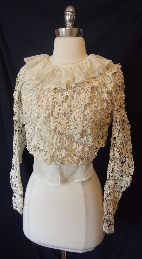 Exquisite IRISH Crochet LACE Blouse Edwardian Victorian Wedding Dress Top ATQ | Clothing, Shoes & Accessories, Wedding & Formal Occasion, Wedding Dresses | eBay!