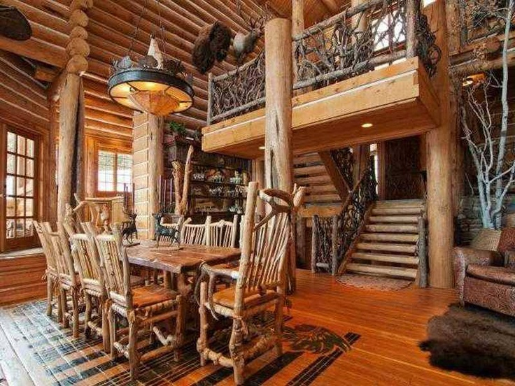 Whole Tree Furniture With A Balustrade In Log Cabin What Do You Think Of The Effect Want More Check Out Our Collection T
