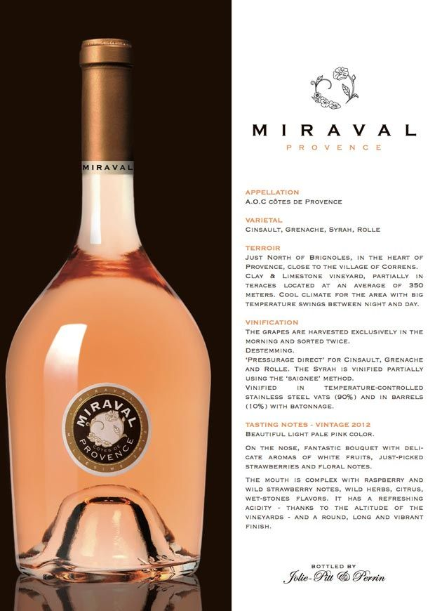 "Angelina Jolie &  Brad Pitt introduce Miraval wine made from their Chateau ""Miraval"" in southern France."