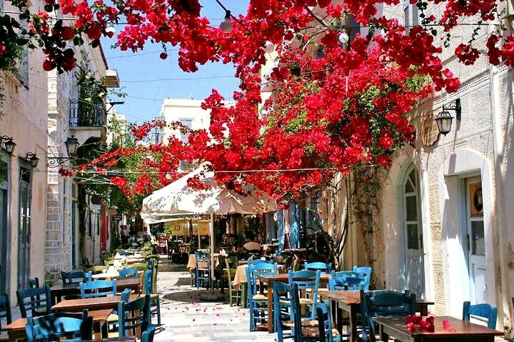 The beautifully blossom bougainvilleas set the perfect scenery... Syros Island Greece
