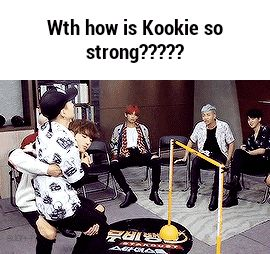 Wth how is Kookie so strong????? GIF