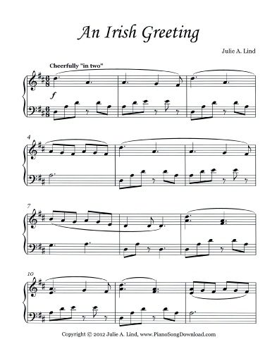 Just in time for St. Patrick's Day! An Irish Greeting, free sheet music for Piano. This bright and cheery Irish tune makes for a great early intermediate piano piece for piano students.