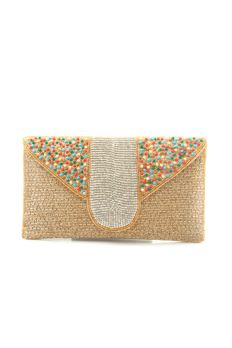 Gold clutch embellished with cutdana, beads, stones and zardosi by #Benzer #Benzerworld #Clutch #Indianwear #Ethnic