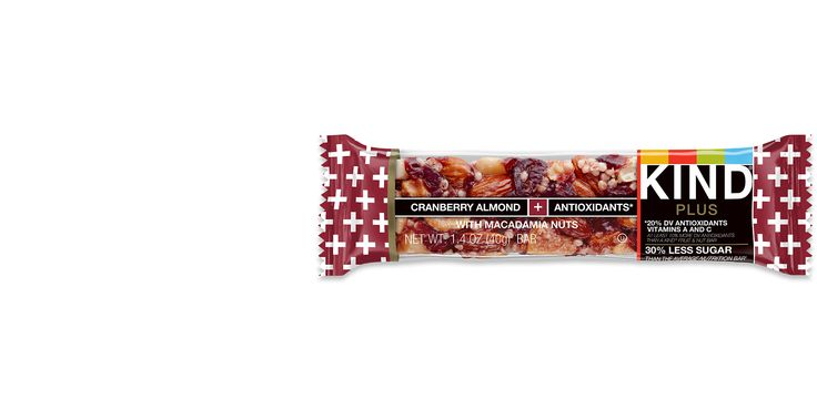 KIND PLUS Cranberry Almond + Antioxidants with Macadamia Nuts Bars   (note- soy lethicin is an allowed/non-allergenic soy ingredient). Avoid Kind bars with chocolate/milk ingredients.