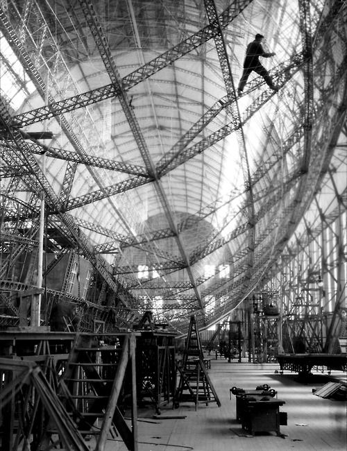Skeleton of Graf Zeppelin Friedrichshafen 1928 Photo: E. O. Hoppe