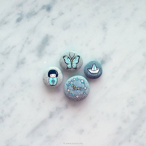 Painted Stones, Set of 4 , Painted pebbles, Hand Painted rock, Mint collection