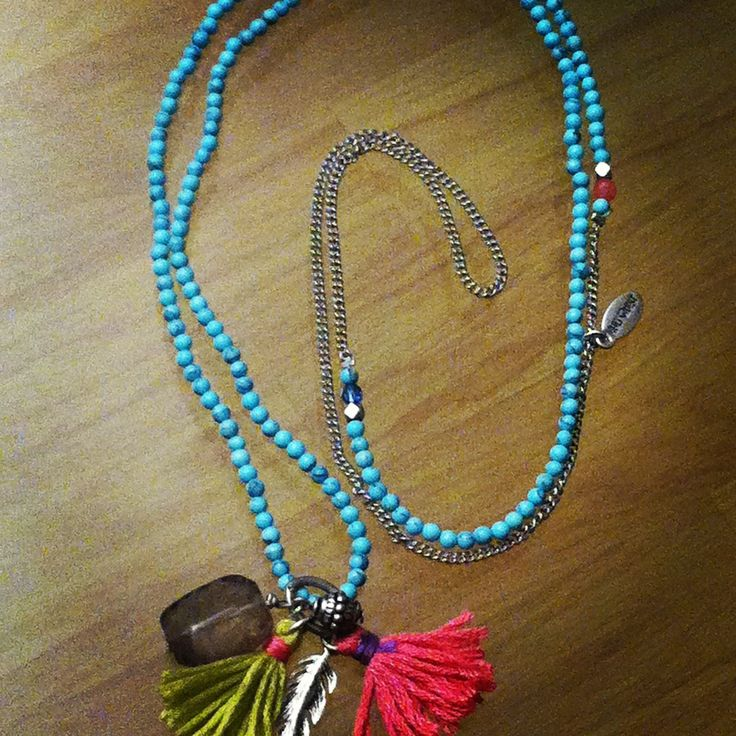 Pompon hultquist collier turquoise