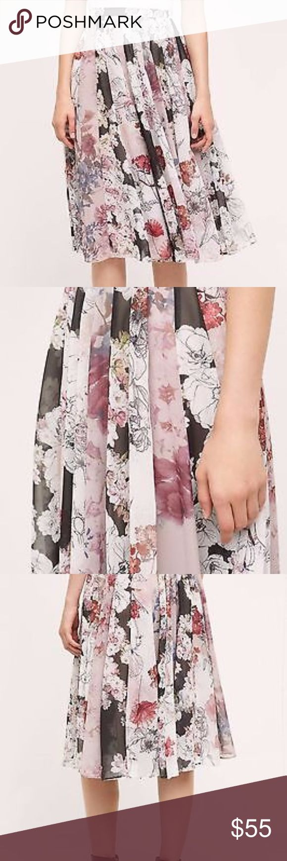 "Varun Bahl Flowerful Midi Skirt by Varun Bahl - Flowy pleated A-line midi skirt  - Size M: Fit perfect for me (typically size 8 at waist and 5'4"") hit few inches below knee  - Side-zip-up - Beautiful pink/purple/charcoal gray floral print  - Super cute with graphic t-shirts tucked or knotted and with sneakers! - Good condition, gently used. Side zipper at top does not line up perfectly, but is not noticeable and does not affect fit - Hand wash or dry clean - Shell: 100% polyester lining…"