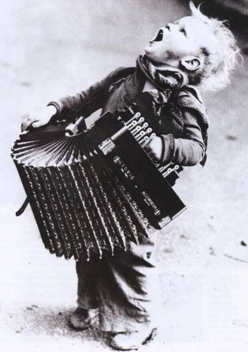 Young boy plays accordion... he's really getting into it