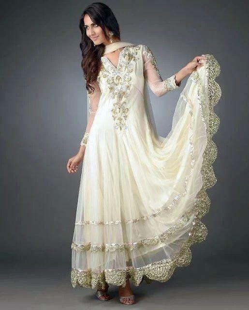 Stylish White Dress Wedding Umbrella Frocks Churidar Designs