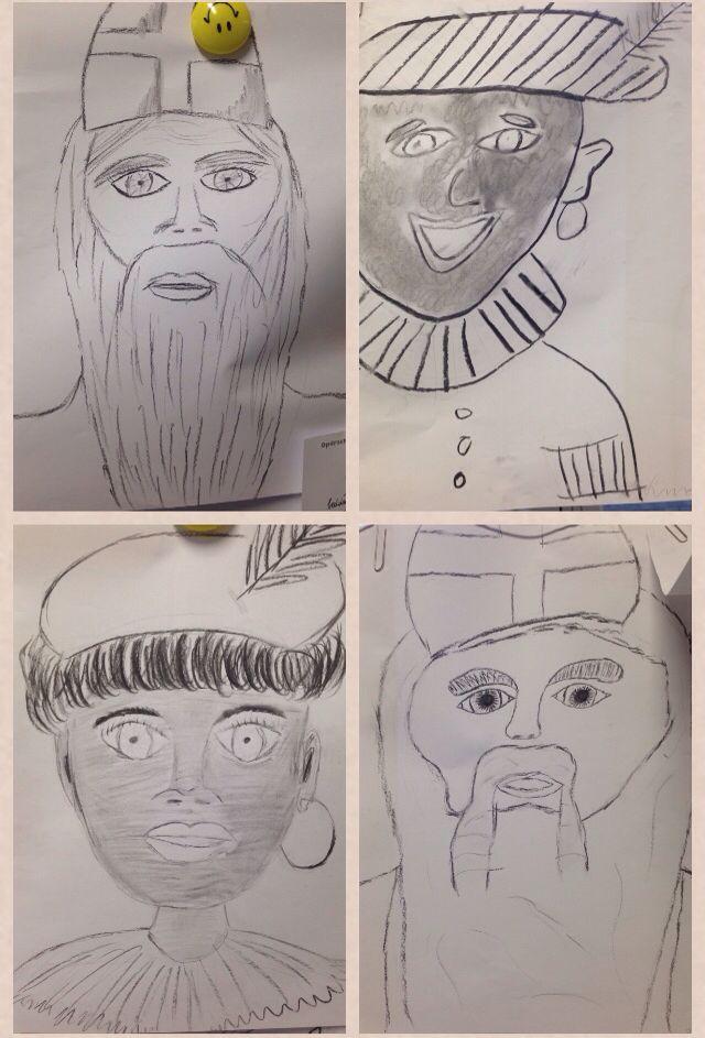 Sinterklaas en zwarte piet selfie! Met potlood schetsen op A3 papier, daarna overtrekken/afmaken met houtskool! Tekeningen zijn van leerlingen uit groep 8