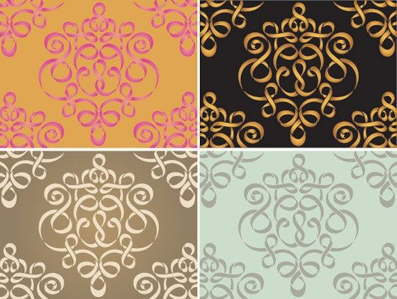 Large Ribbon Damask Allover Stencil SKU: S-3031L Actual Design Size: 20 w x 23.75 h, Reusable 10 mil mylar A classic ribbon damask wall stencil pattern with a contemporary flair! Use the Ribbon Damask Wall Stencil in multiple ways: as a formal allover pattern, repeated randomly,
