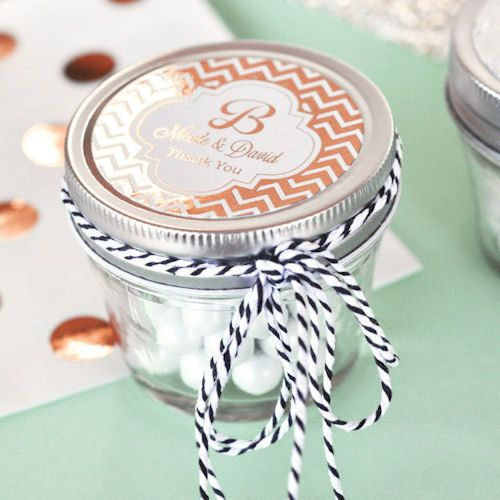 Metallic Rose Gold Small 4 oz Mason Jars, Wedding Favors, Party, Baby