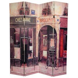 "72"" x 48"" Double Sided Brasserie 3 Panel Room Divider"