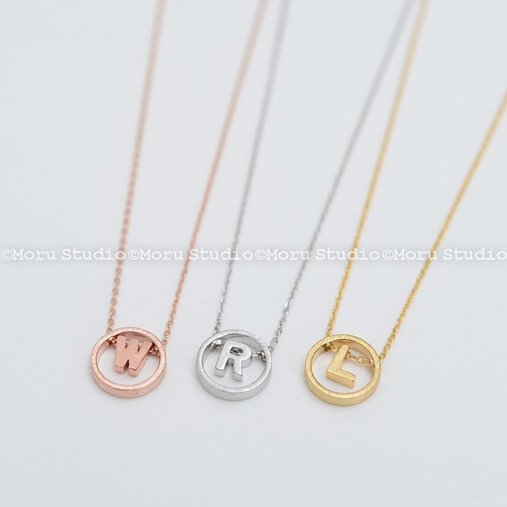 Floating Circle with Initial Letter Necklace/ Karma Necklace, Dainty Line Circle Necklace, Bridesmaid Initial Necklace Round Necklace NCR093 by MoruStudio on Etsy