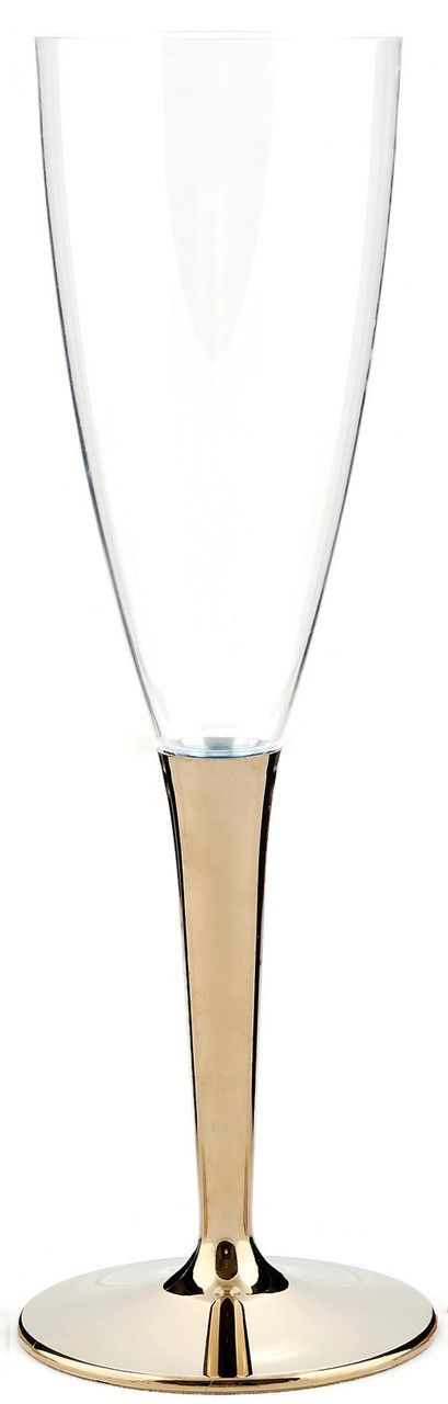 Clear plastic champagne glasses with metallised plastic gold coloured stems from Mozaik by Sabert, perfect for celebrations and entertaining or for casual occasions such as barbeques or picnics. Designed to be disposable but can be reused with careful washing. Looks like glass.