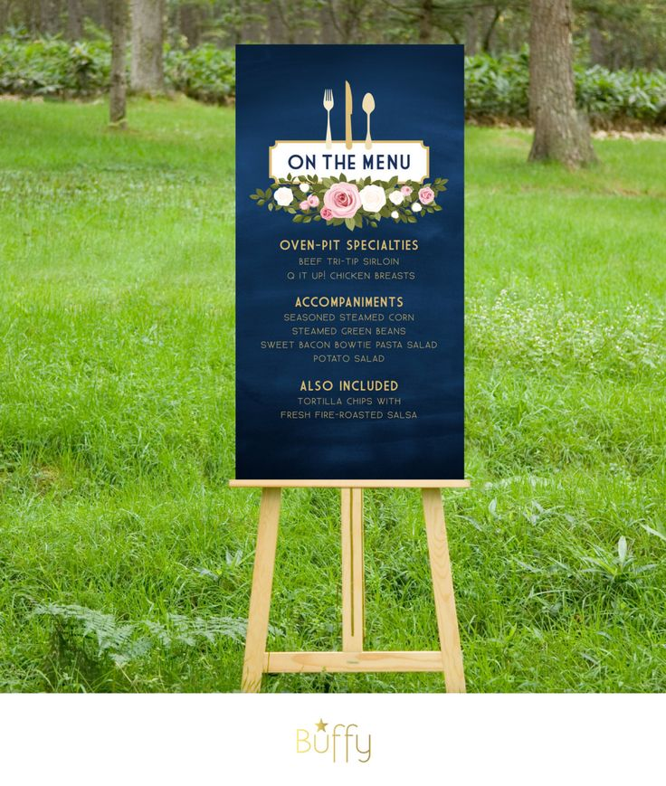 $35 on ETSY | The FRANKIE . Menu Wedding Sign or Table Menu . Navy Chalkboard & Gold Calligraphy . Blush Pink White Roses . fork knife spoon . PDF by BuffyWeddings on Etsy