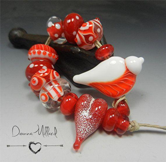 sra handmade lampwork red bird bead set donna millard red white love valentines wearable art statement jewelry earrings