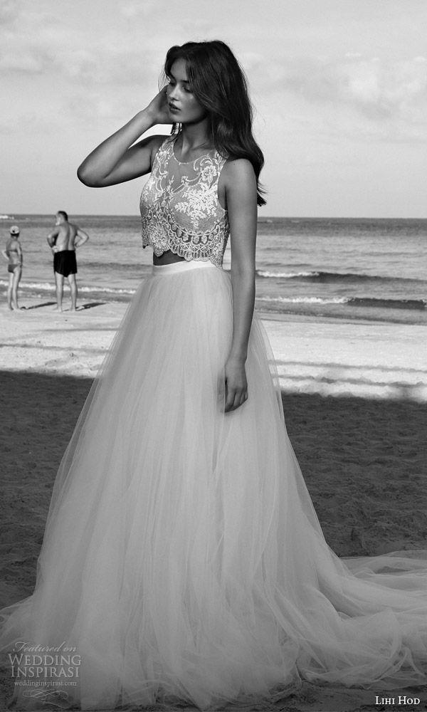 Lihi artesa de novia 2016 vestido de boda en la playa venus romántica de dos piezas de cultivos mangas embellecido superior falda de tul plena vista de perfil