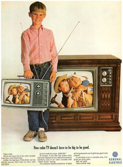 General Electric, 1966 - portable color TV!   Only my rich friends had color TV in the 60's. I didn't actually own my own until I was finished 8 years of school at the age of 26.