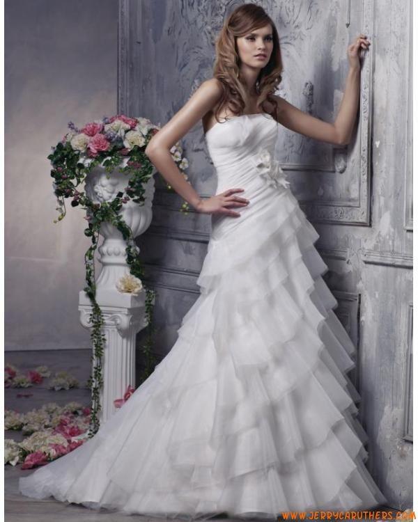 strapless A-lijn organza bruidsjurken