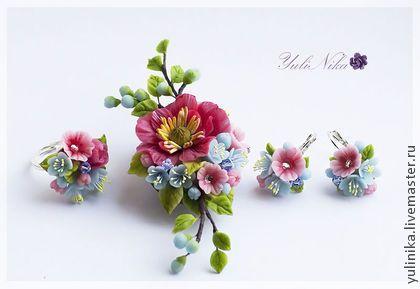 Clay flowers. Pendant, earrings, ring by Yuliya Koval. Комплекты украшений ручной работы. Ярмарка Мастеров - ручная работа Комплект с весенними цветами. Handmade.