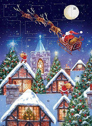 Christmas Advent Calendar Santa Sleigh Night Glitter Finish
