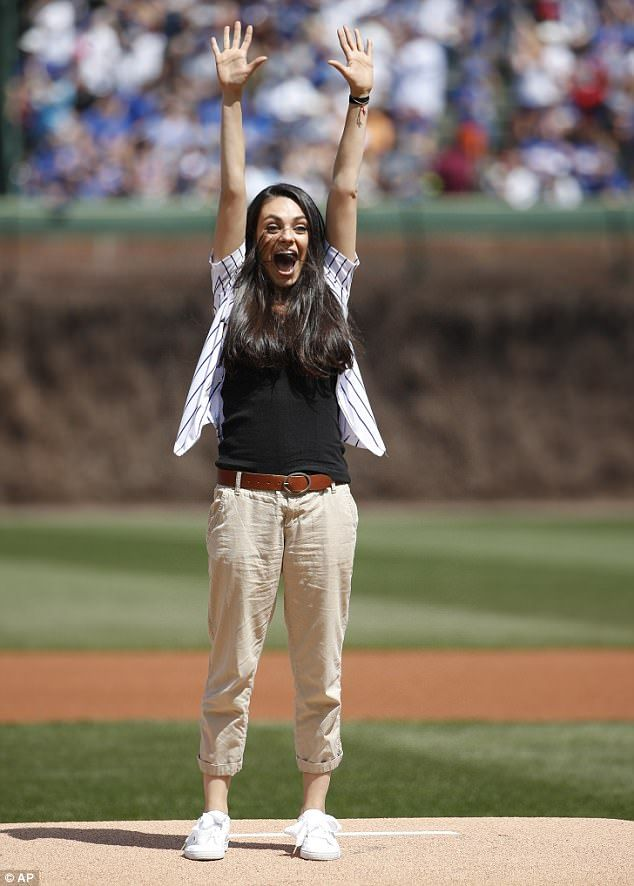 Good arm! Chicago Cubs fan Mila Kunis got the once-in-a-lifetime chance to throw the first pitch at an MLB game before Saturday's game against the Pittsburgh Pirates