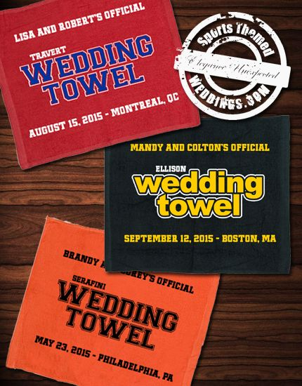Custom designed 2-color nhl hockey themed wedding rally towels. Limited production runs with your design  #hockeywedding