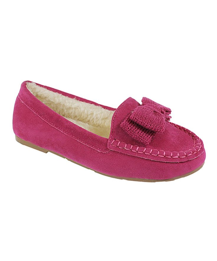 Take a look at this Fuchsia Pawie Moccasin - Kids today!