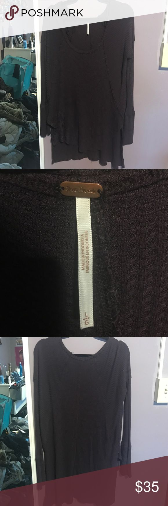 Free People Scoop Neck Thermal Comfy and cute Free People Thermal! Size large, plum color. Great for lounging or casual wear! Free People Sweaters Crew & Scoop Necks