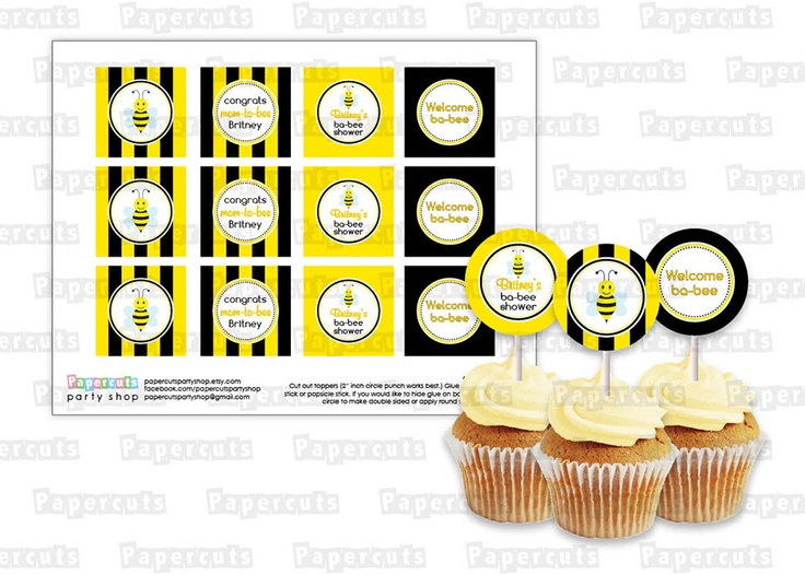 Printable DIY Black And Yellow Honey Bee Bumble Busy Theme Personalized Baby Shower Cupcake Toppers