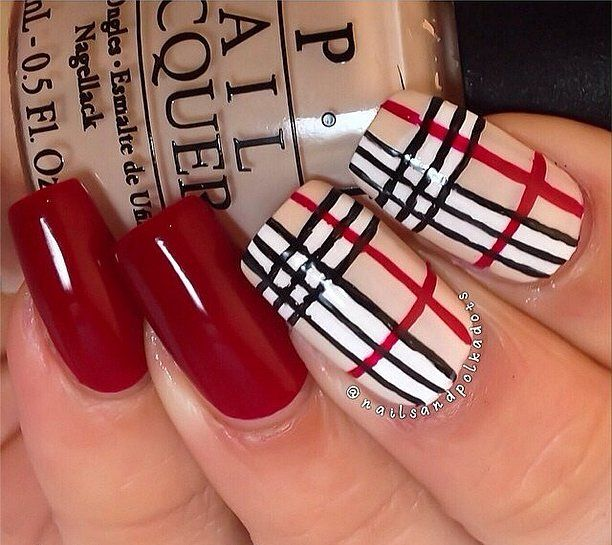 Try one of our luxury designer nail art ideas, like this Burberry-inspired manicure.